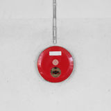 Red fire alarm box for warning security system mounted Stock Photos