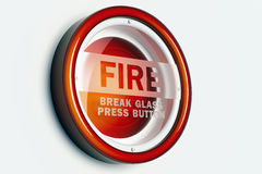 Red fire alarm button. A red fire alarm button isolated on a wihite wall Stock Photography