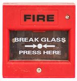 Red fire alarm equipment isolated. Red fire alarm equipment activate by button method, isolated Stock Photos
