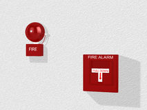 Red fire alarm switch and alarm bell. Red fire alarm switch with pull down lever and an alarm bell attached to a white wall 3D illustration Royalty Free Stock Photo