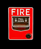 Red fire alarm switch on black isolation Royalty Free Stock Photography