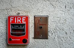 Red fire alarm stock photo