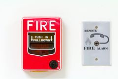 Red fire alarm on white background Stock Images