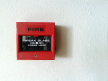 Red fire alarm Stock Images