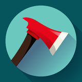 Red fire ax icon flat style. Firefighter tool Royalty Free Stock Photography