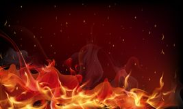 Red fire background. Abstract vector art illustration Royalty Free Stock Photos