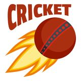 Red fire ball cricket logo, flat style. Red fire ball cricket logo. Flat illustration of red fire ball cricket vector logo for web design isolated on white Stock Image