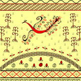 Red fire bird ethnic ornamental background. Spring and flowering. Colorful national pattern Stock Photography