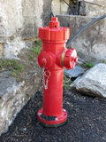 Red fire brigade hydrant Stock Photo
