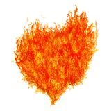Red fire bright heart on white. Orange heart shape flame isolated on white background Stock Images