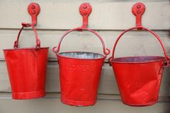 Red Fire Buckets Royalty Free Stock Photos