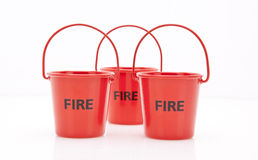 Red fire buckets Stock Image