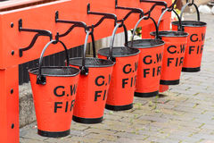Red Fire Buckets Royalty Free Stock Photography