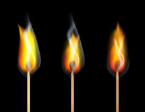 Red Fire Burn Match Wood on Black Background. Vector Royalty Free Stock Photos
