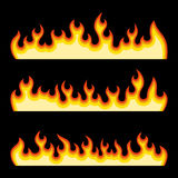 Red Fire Burning Flames Set on a Black Background. Vector Stock Photos
