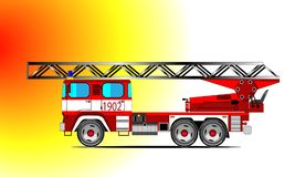 Red fire car. Red fire truck riding to extinguish a fire Stock Photo