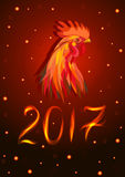 Red Fire Cock. Red cock with 2017 on red background Royalty Free Stock Images