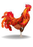 Red Fire Cock. Red cock with 2017 on red background Royalty Free Stock Photos