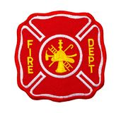 Fire Dept Patch. Red Fire Department Patch Isolated on White Background royalty free stock photo