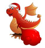 Red Fire dragon. Vector. Red Fire dragon a symbol of new 2012 Stock Photo