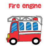 Red fire engine cartoon vector. Art illustration Royalty Free Stock Images