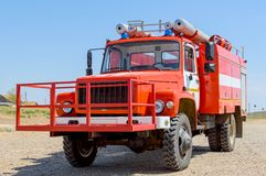 Red fire engine for extinguishing natural steppe or forest fires in the national reserve. The concept: fire-fighting special equip. Ment in full readiness stock photos