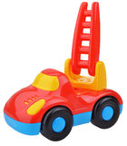 Red fire engine toy. Isolated over a white background stock image