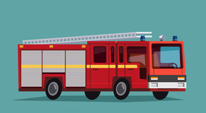 Red fire engine truck. Red fire truck with white stripes. Fire engine Stock Photo