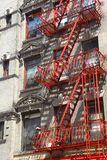 Red fire escape in Little Italy, New York Royalty Free Stock Photos