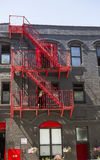 Red Fire escapes royalty free stock photos