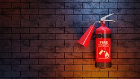 Red fire extinguisher on brick wall. 3d concept Stock Photo