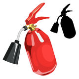 Red fire extinguisher in cartoon style isolated Stock Photos