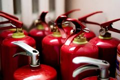 Red fire extinguisher royalty free stock image