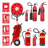 Red fire extinguisher. Firefighter tools for flame protection vector illustrations of various extinguisher types stock illustration