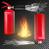 Red Fire Extinguisher Vector. Fire Flame Sign And Metal Red Fire Extinguisher. Transparent Background. Fire Extinguisher Vector. Sign 3D Realistic Fire Flame And Stock Photography