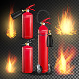 Red Fire Extinguisher Vector. Fire Flame Sign.  On Transparent Background Illustration. Fire Extinguisher Vector. Burning Fire Flame And Metal Glossiness 3D Royalty Free Stock Photos
