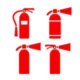 Red fire extinguisher vector icon. Red fire extinguishers vector icons set Royalty Free Stock Images