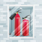Red Fire Extinguisher In Wall Niche Vector. Metal Glossiness 3D Realistic Red Fire Extinguisher Illustration. Fire Extinguisher In Brick Wall Niche Vector. Metal Stock Photos