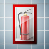 Red Fire extinguisher. On Wall. Vector illustration, EPS 10 Royalty Free Stock Photos