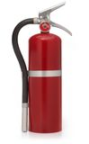 Red fire extinguisher on white stock image