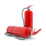 Red fire extinguisher. On white background Royalty Free Stock Photo