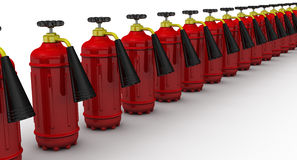 Red fire extinguishers lined up in row. On a white surface. . 3D Illustration Stock Photos