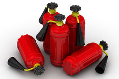 Red fire extinguishers. On a white surface. . 3D Illustration Stock Image