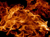 Red fire flames on a black background Stock Photos