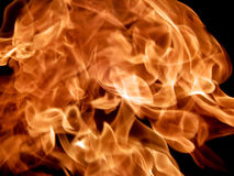 Red fire flames on a black background Stock Images