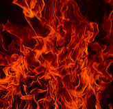 Red Fire Flames of Hell. Against a black background Stock Photo