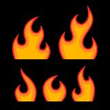 Red Fire Flames Set. Red Fire Flames Set on Black Background. Vector Stock Images