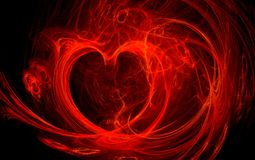 Red fire heart. Illustration of a red fire heart Stock Image