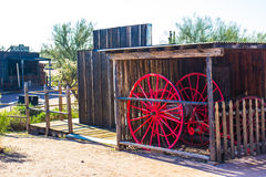 Red Fire Horse in Arizona Desert Town Stock Photos