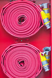 RED FIRE HOSE Stock Image